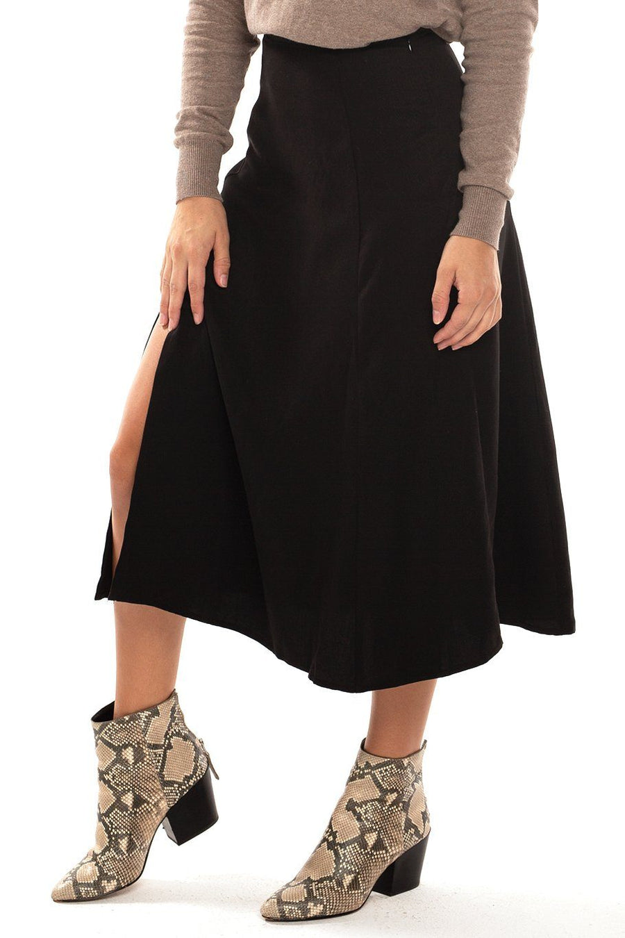 Sienna Slit Side Midi Skirt - Black - Shore