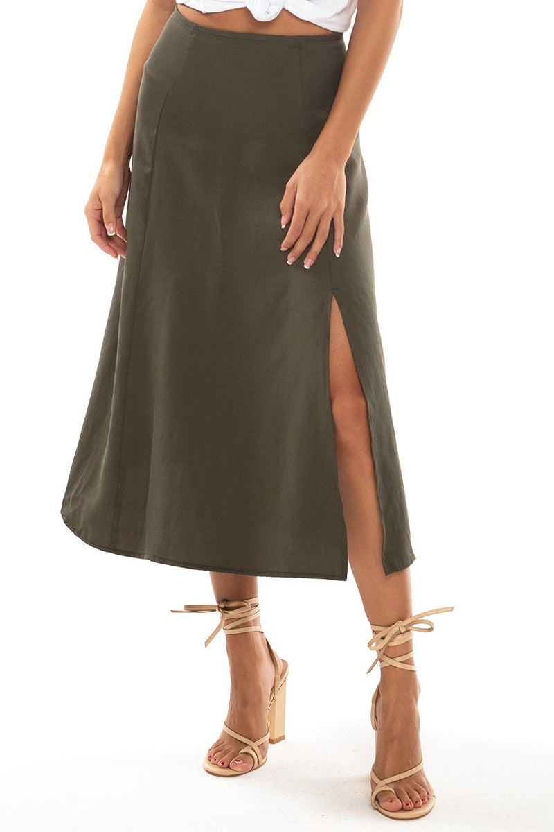 Sienna Slit Side Midi Skirt - Forest - Shore