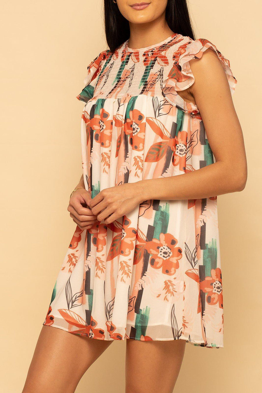 Smocked Top Dress -  Abstract Floral - Shore