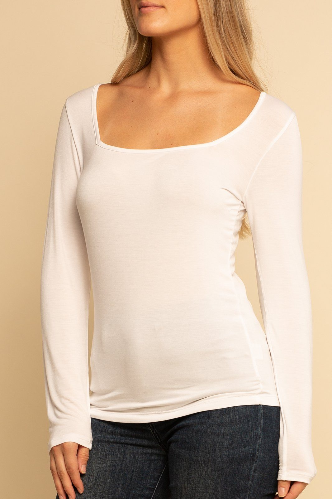 Square Neck Top - White - Shore
