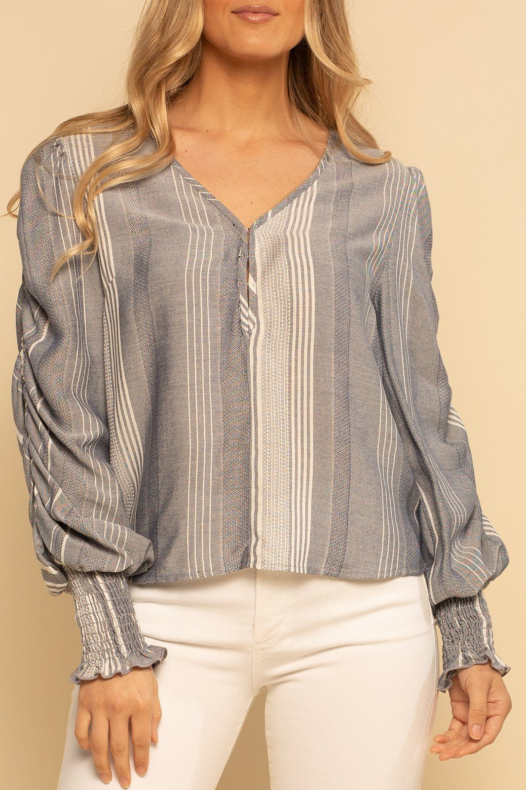Smocked Wrist Top - Denim Stripe - Shore