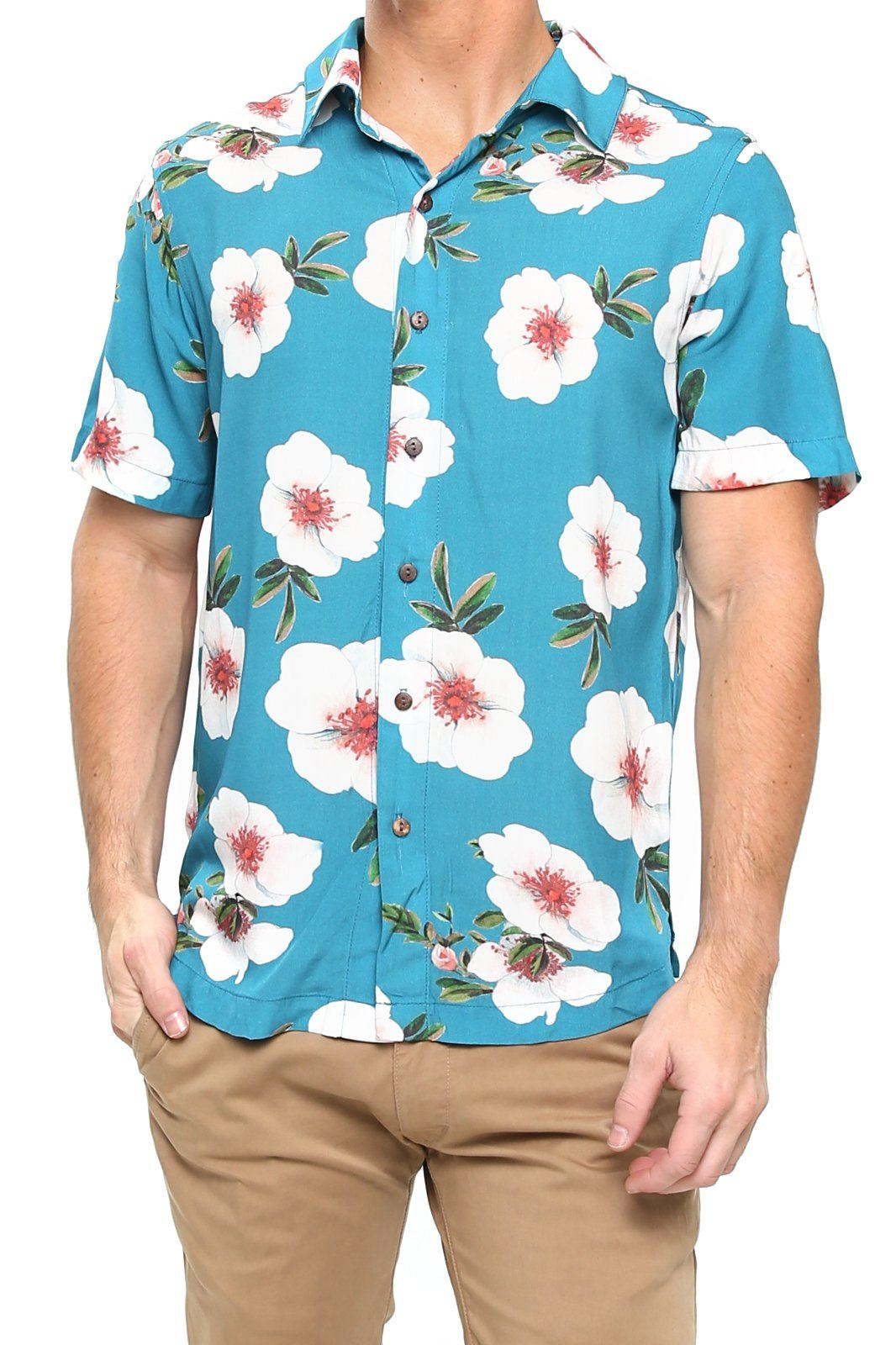 Shore Men's Camp Shirt - Teal Floral - Shore