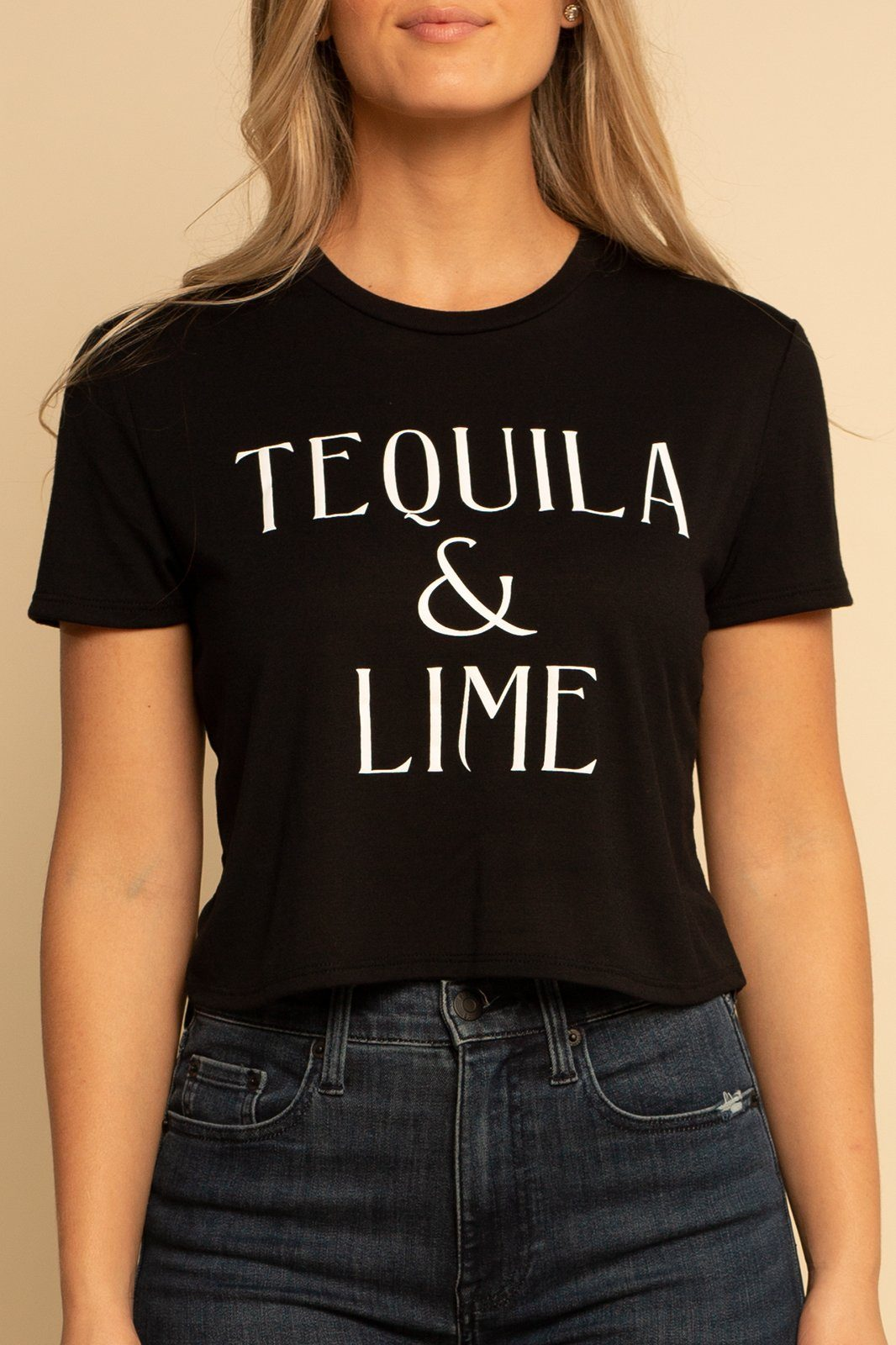 Tequila Flowy Cropped Tee - Black - Shore