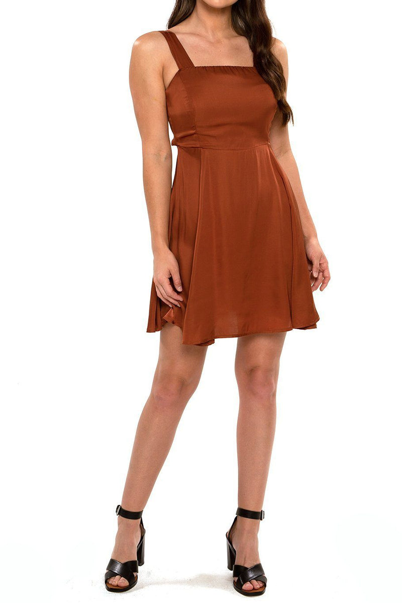 Tie Back Mini Dress - Satin Rust - Shore