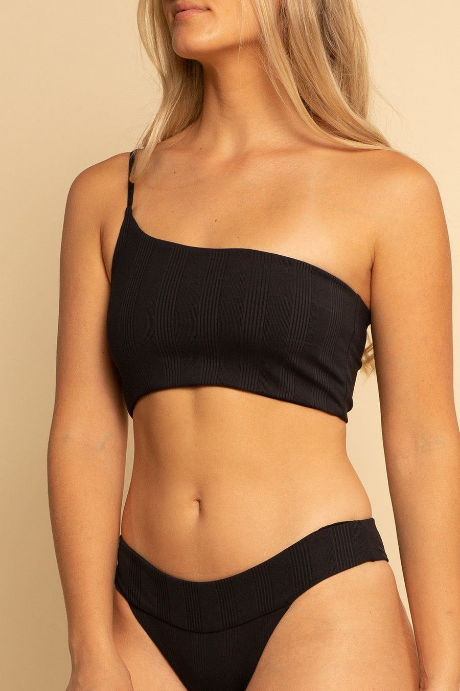 Tulum One Shoulder Top - Black Ribbed - Shore
