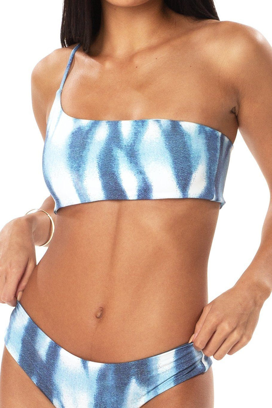 Tulum One Shoulder Top - Blue Tie Dye