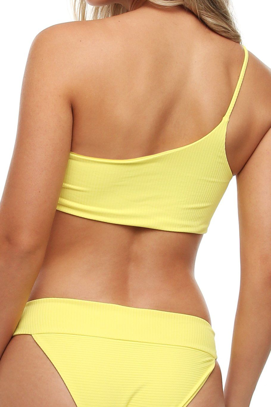 Tulum One Shoulder Top - Yellow Ribbed - Shore