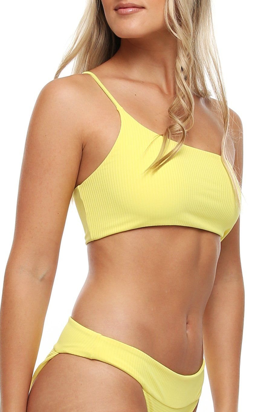 Tulum One Shoulder Top - Yellow Ribbed