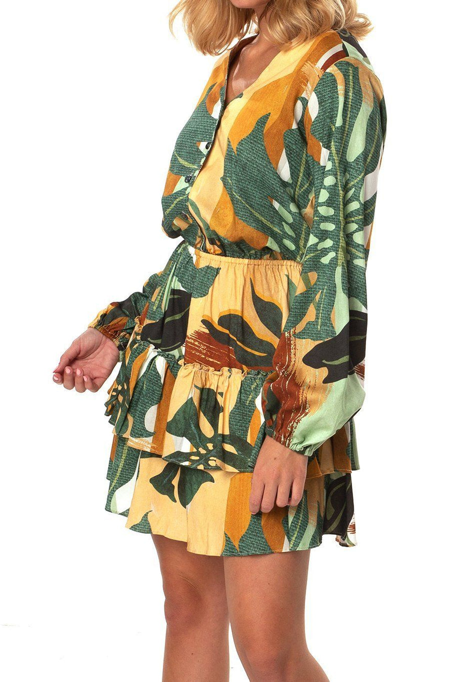 Valencia Dress - Monstera Leaf - Shore