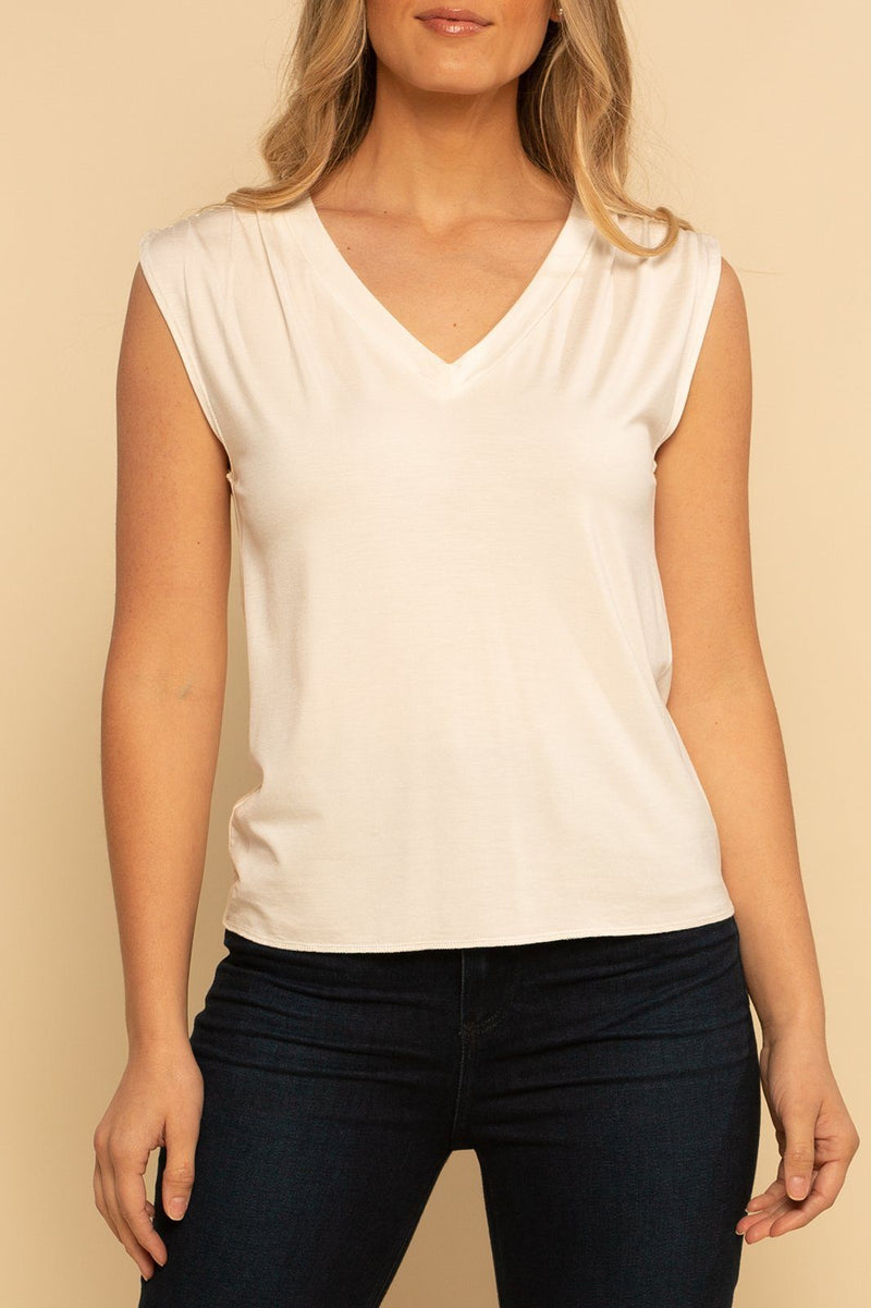 Ruched V-Neck Tank - White - Shore