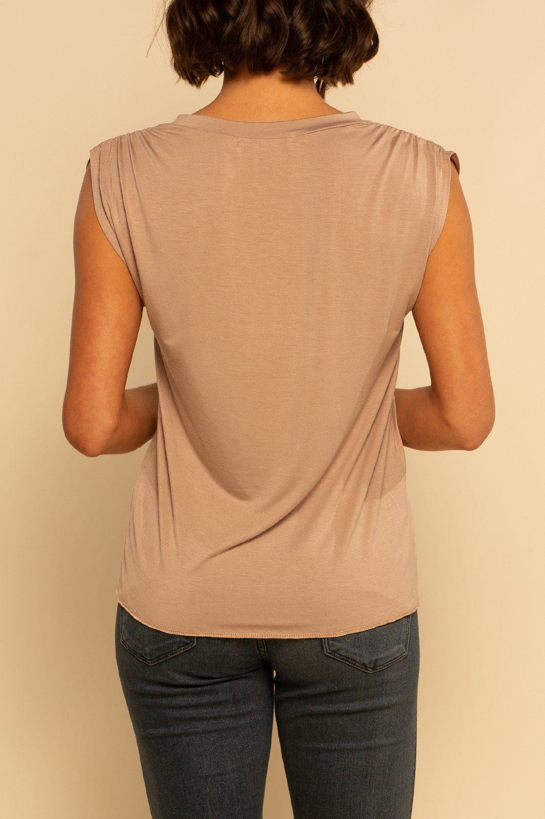 Ruched V-Neck Tank - Cocoa - Shore