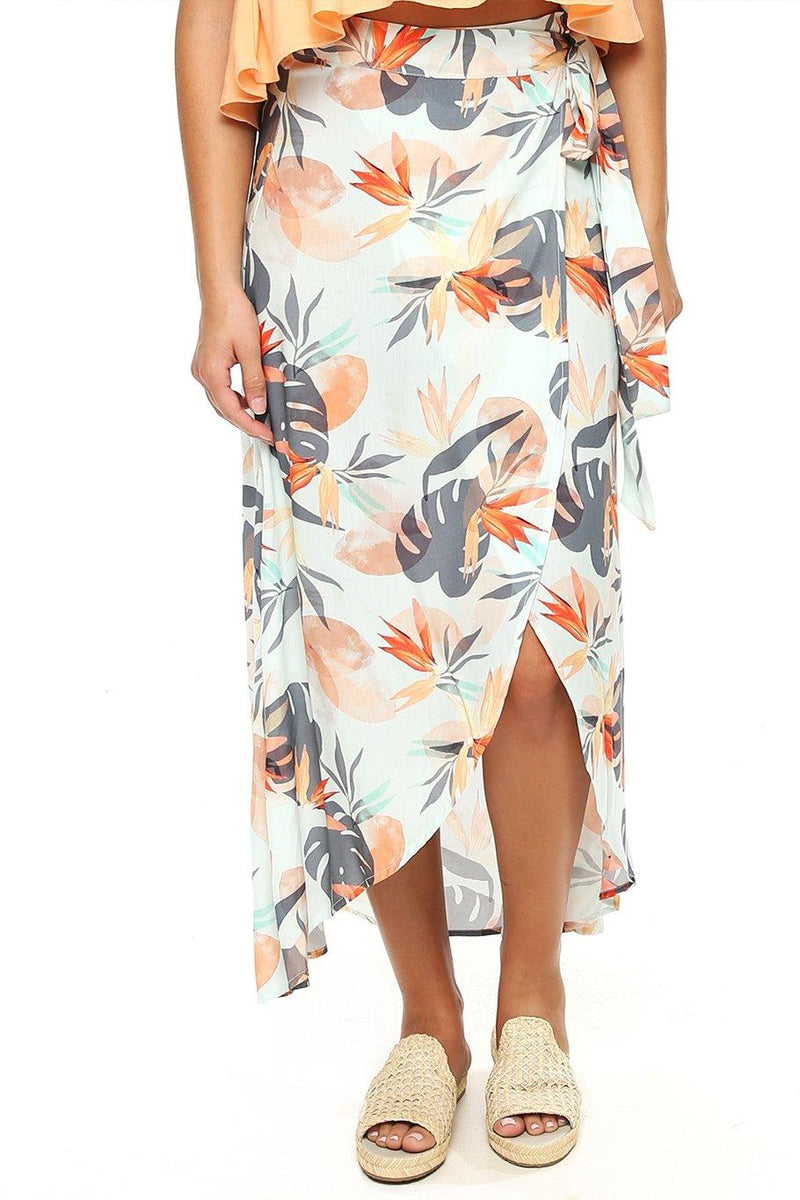 Midi Wrap Skirt - Paradise - Shore