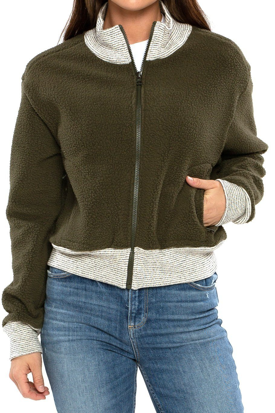 Seattle Full Zip Sherpa Bomber - Forest - Shore