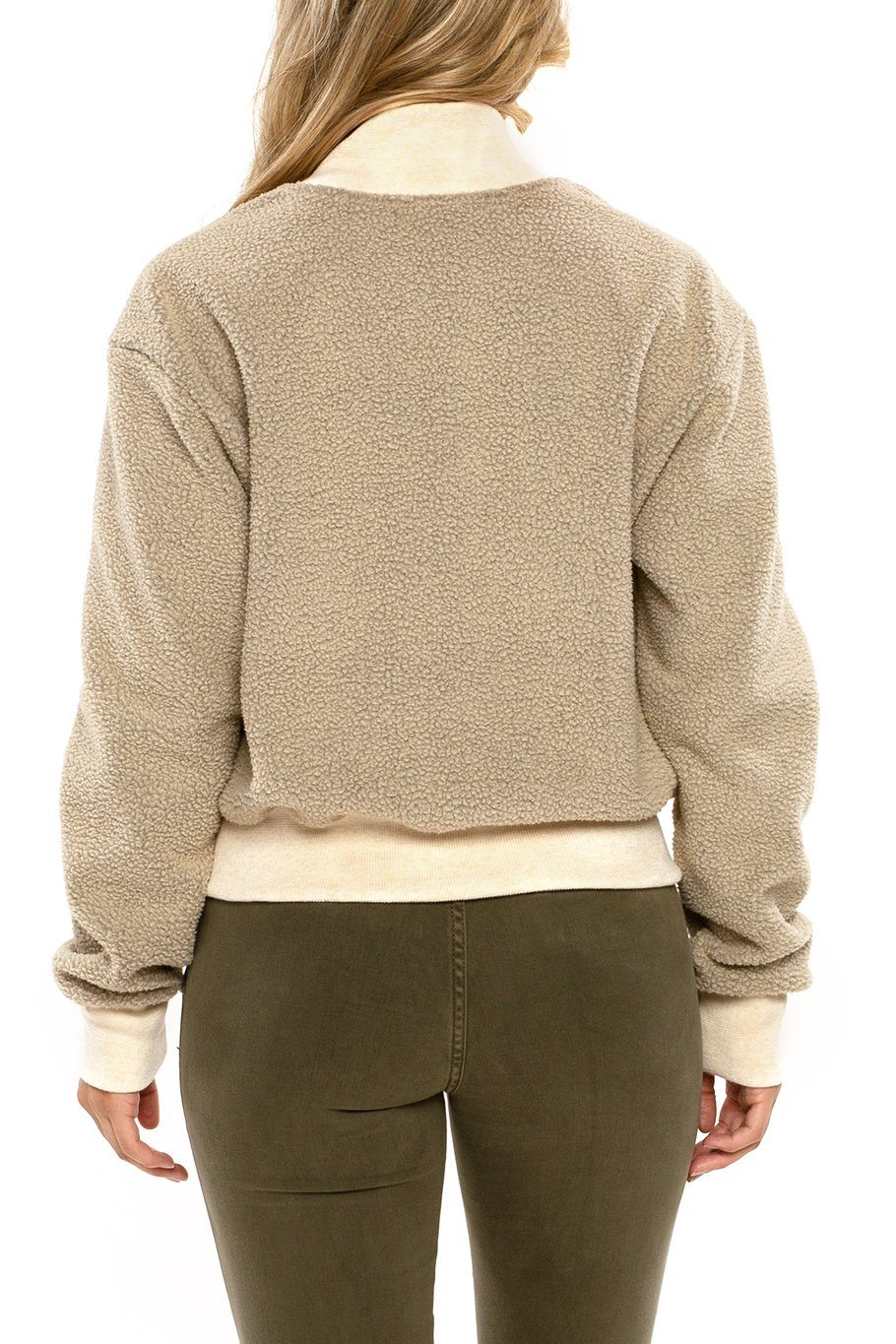 Seattle Full Zip Sherpa Bomber - Pearl - Shore