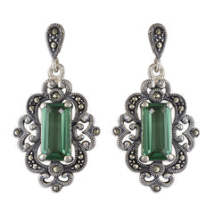 Green Quartz Art Nouveau Drop Earrings