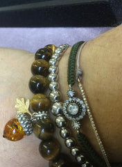 Tiger's Eye Bracelet With Acorn Charm
