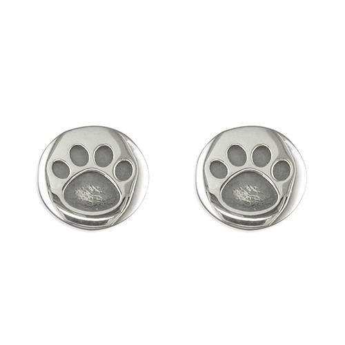 Round Paw Prints Stud Earrings