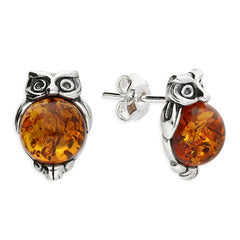 Amber Owl Stud Earrings