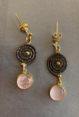Rose Quartz Spiral Earrings