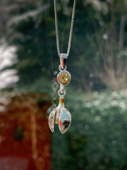 Snowdrop Pendant with Garnet and Peridot