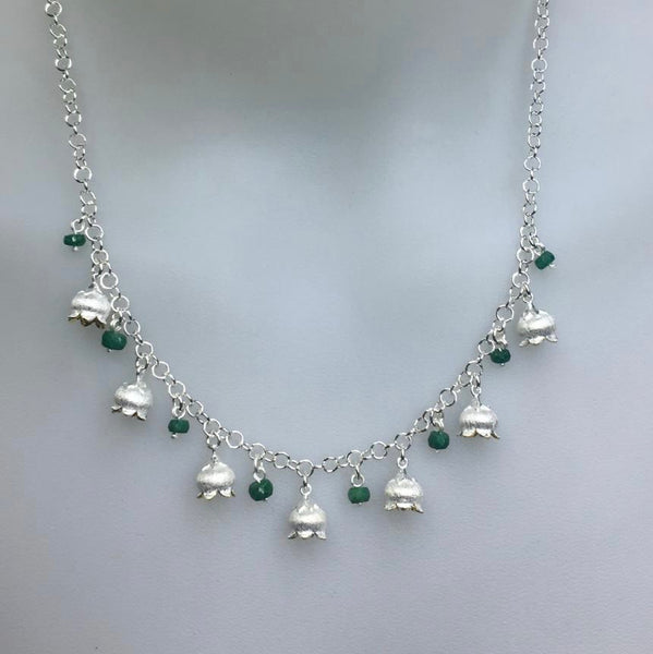 Lily of the valley necklace with emerald stones