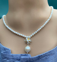Jasmine Flowers With Baroque Pearls Necklace