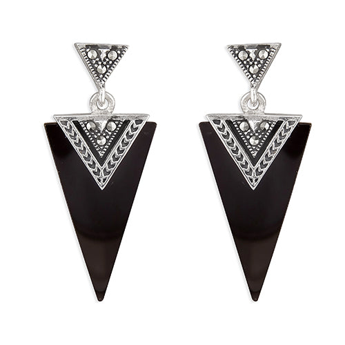 Black Agate Triangle Drop Earrings