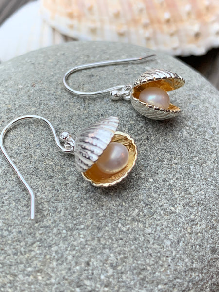 Shell with pearl earrings