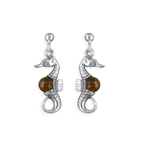Seahorse Amber Earrings