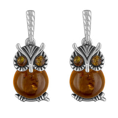 Amber Owl Earrings