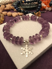 Amethyst Bracelet With Snowflake Charm