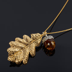 Large Oak Leaf With Acorn Pendant