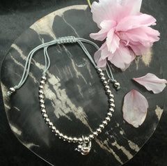 Silver Beaded Bracelet With Robin Charm
