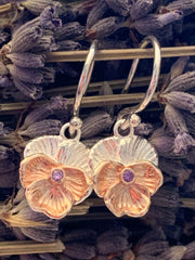 Violet Flower Earrings With Amethyst
