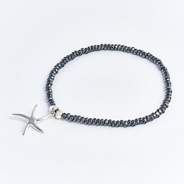 Hematite Bracelet With Starfish Charm