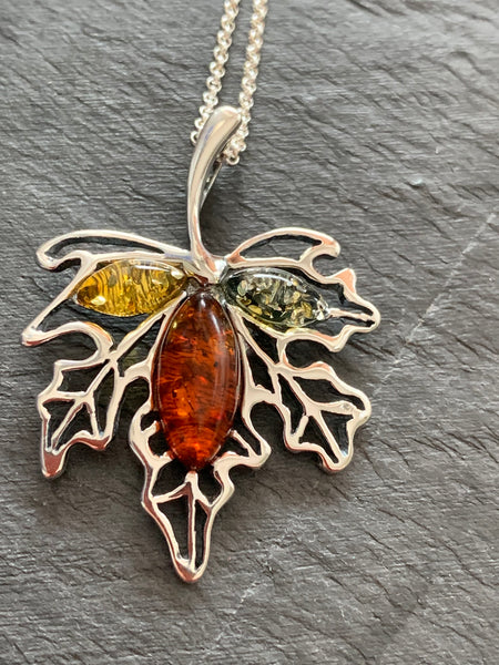 Amber Maple Leaf Pendant