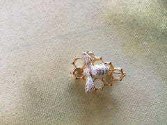 Bee and Honeycomb Brooch