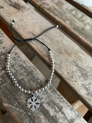 Beaded Bracelet with Snowflake Charm