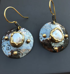 Hammered Disc Pearl Earrings