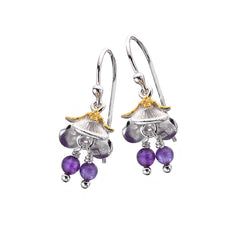 Flower with Amethyst Beads Earrings