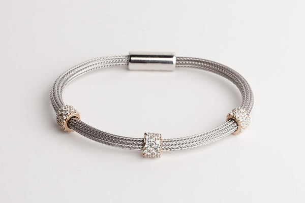 Mesh Bracelet With Three Gold Rings