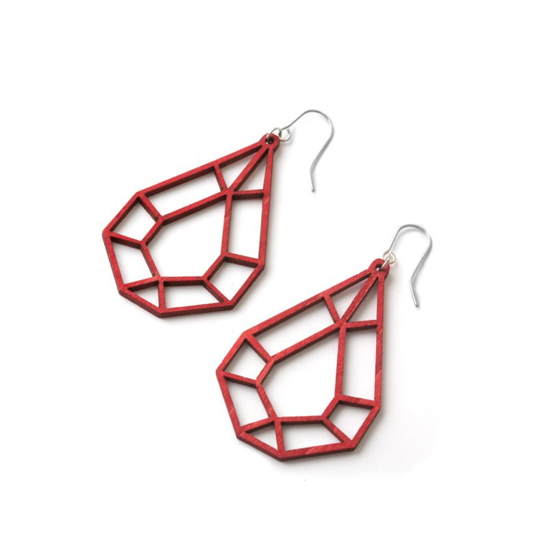 Valona Design red Drop wooden earrings, Finnish birch