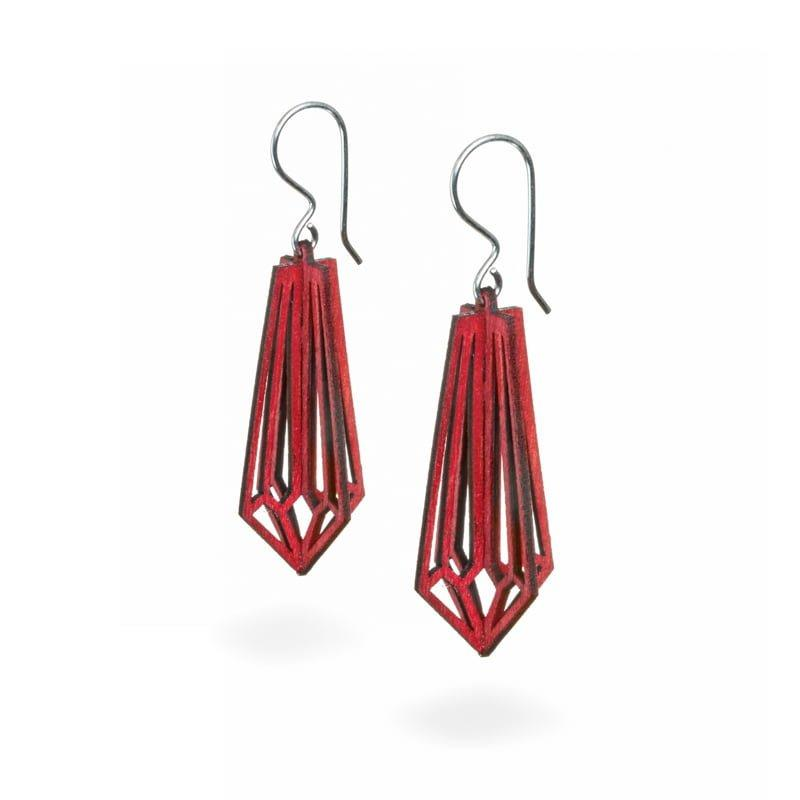 Valona design 3D wooden Birch Crystal earrings red