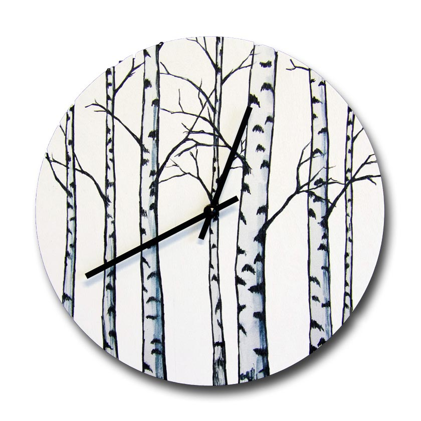 Birches wooden black and white wall clock by Miiko design Finland