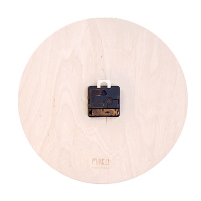 Birches wooden black and white wall clock by Miiko design Finland, backside