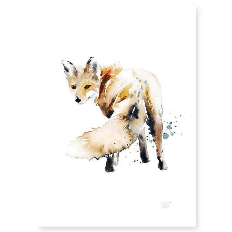 Ester Visual Fox Tail poster from Rovaniemi Arctic circle watercolour