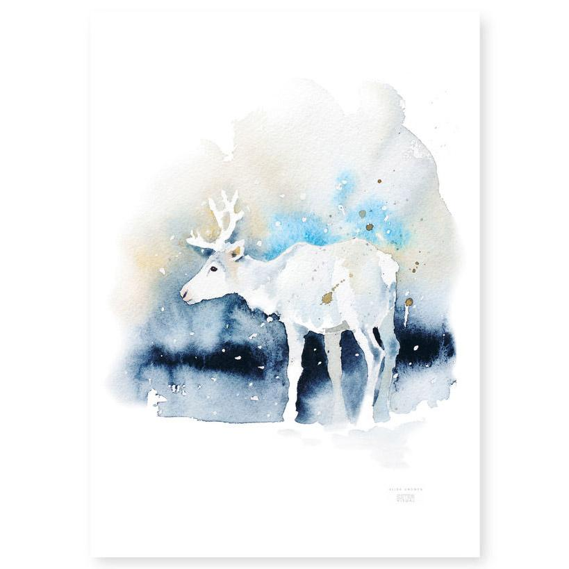 Ester Visual Valkko Reindeer poster from Rovaniemi Arctic circle watercolour