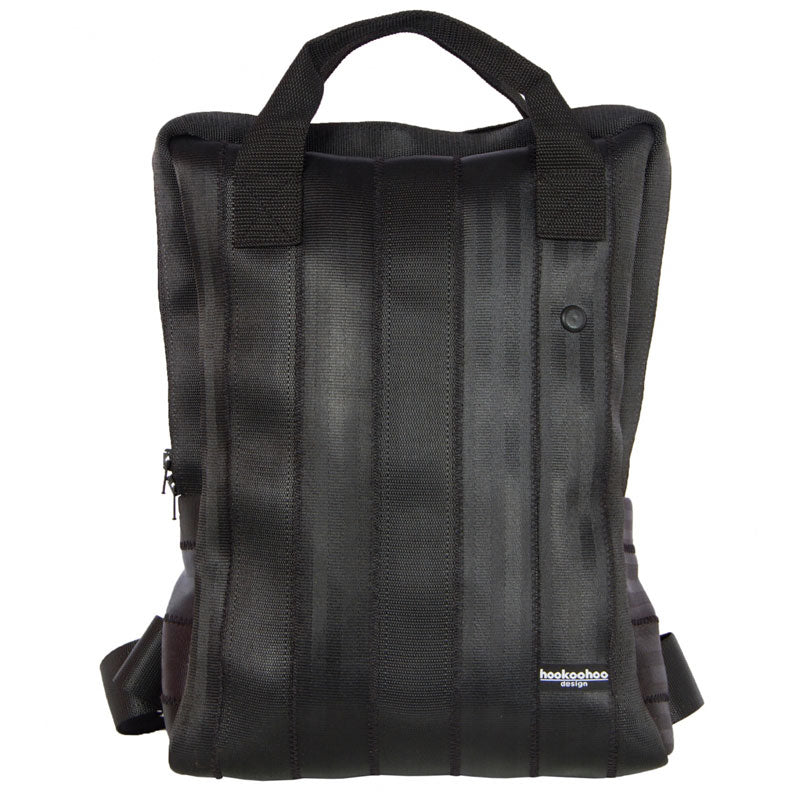 Hookoohoo design black Backpack made of recycled car seat belts