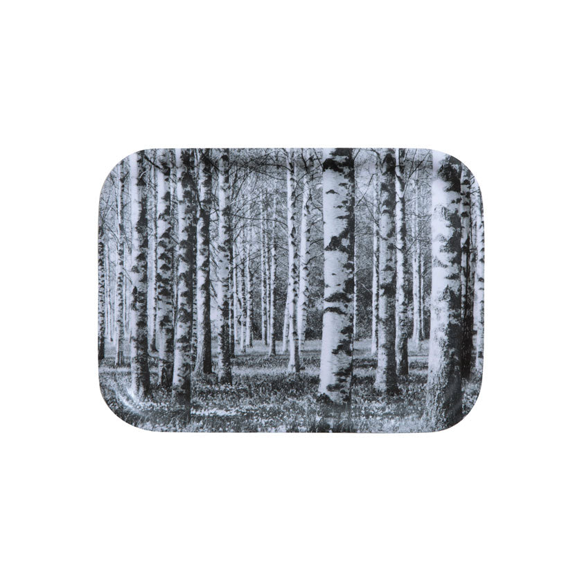 Small wooden black and white tray Birch Forest by Miiko design Finland
