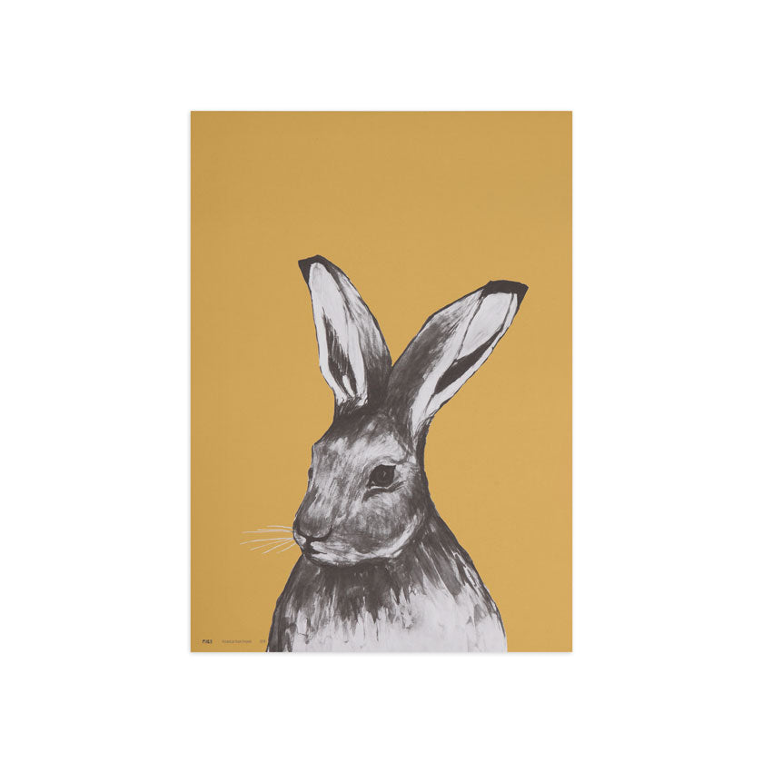 Hare poster by Miiko design Finland, ochre colour